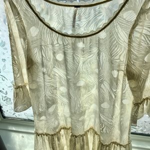 Free People cream feather design tunic/dress